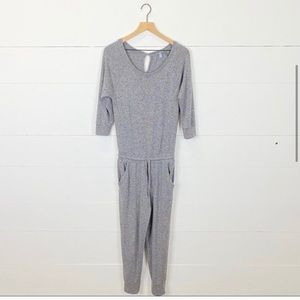 Aerie Pajama Jumpsuit Gray Half Sleeve Cozy XS